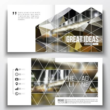 night city: Vector set of square design brochure template. Colorful polygonal background, blurred image, night city landscape, modern stylish triangular vector texture. Illustration