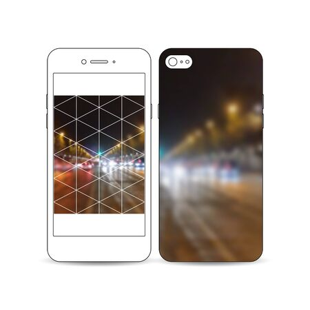 night city: Mobile smartphone with an example of the screen and cover design isolated on white background. Dark polygonal background, blurred image, night city landscape, car traffic, modern triangular texture. Illustration