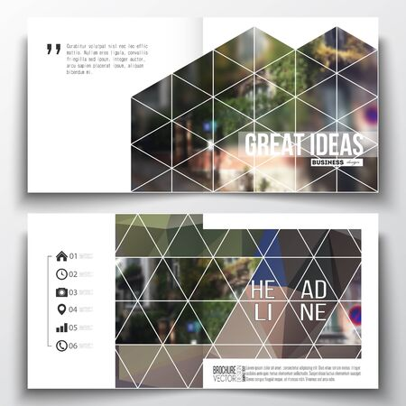 montmartre: Set of annual report business templates for brochure, magazine, flyer or booklet. Polygonal background, blurred image, urban landscape, street in Montmartre, Paris cityscape, triangular vector texture