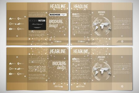 both sides: Vector set of tri-fold brochure design template on both sides with world globe element. Polygonal backdrop with connecting dots and lines, golden background, connection structure. Science vector Illustration