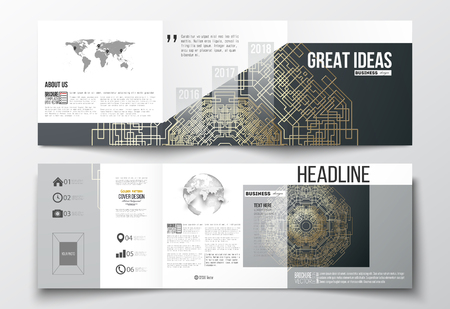 golden globe: Set of tri-fold brochures, square design templates with element of world map and globe. Round golden technology pattern on dark background, mandala template with connecting lines and dots.