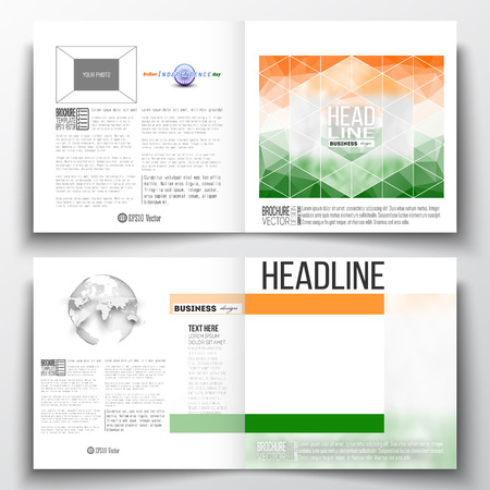 half globe: Set of annual report business templates for brochure, magazine, flyer or booklet. Background for Indian Independence Day celebration with Ashoka wheel and national flag colors, vector illustration. Illustration