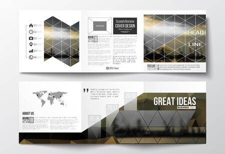 shipyard: Vector set of tri-fold brochures, square design templates with element of world map. Colorful polygonal background with blurred image, seaport landscape, modern stylish triangular vector texture.