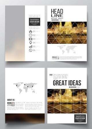 architecture design: Set of business templates for brochure, magazine, flyer, booklet or annual report. Colorful polygonal background, blurred image, night city landscape, triangular vector texture. Illustration