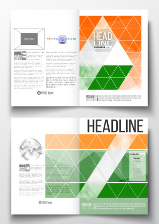 half globe: Set of business templates for brochure, magazine, flyer, booklet or annual report. Background for Indian Independence Day celebration with Ashoka wheel and national flag colors, vector illustration.