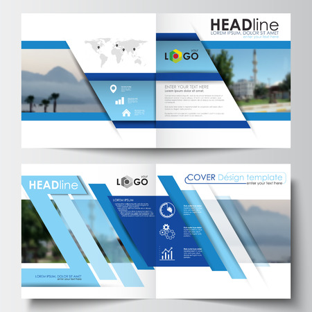 booklet design: Business templates for square design brochure, magazine, flyer, booklet or annual report. Leaflet cover, easy editable blank, abstract layout, vector illustration. Illustration