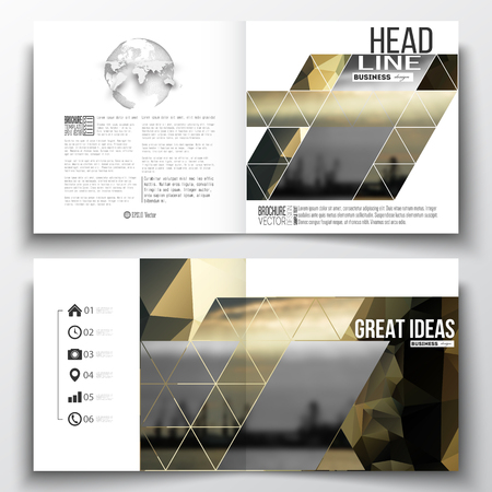 shipyard: Set of annual report business templates for brochure, magazine, flyer or booklet. Colorful polygonal background with blurred image, seaport landscape, modern stylish triangular vector texture.
