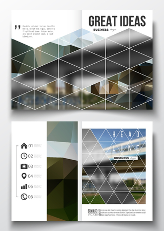 business scene: Set of business templates for brochure, magazine, flyer, booklet or annual report. Colorful polygonal background, blurred image, urban scene, modern stylish triangular vector texture.