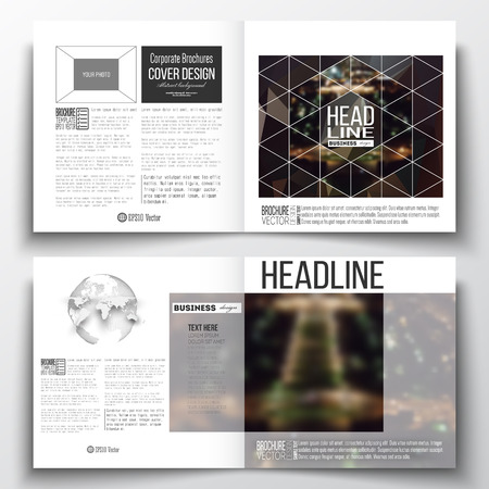 half globe: Set of annual report business templates for brochure, magazine, flyer or booklet. Dark polygonal background, blurred image, night city landscape, Paris cityscape, modern triangular vector texture.