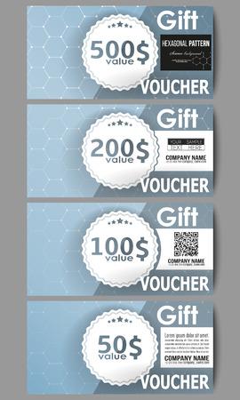 medical bill: Set of modern gift voucher templates. Chemistry pattern, hexagonal design vector illustration.