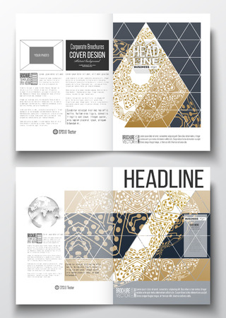half globe: Set of business templates for brochure, magazine, flyer, booklet or annual report. Golden microchip pattern, connecting dots and lines, connection structure. Digital scientific background.