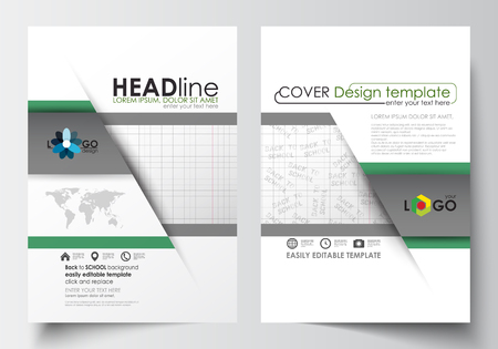 halftone cover: Business templates for brochure, magazine, flyer, booklet or annual report. Cover design template, easy editable blank, abstract flat layout in A4 size. Back to school background with letters made from halftone dots, vector illustration