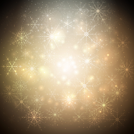 golden star: Golden Christmas background with glowing shiny snowflakes and stars. Blurred vector background for your decoration.