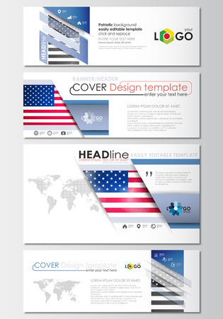 american media: Social media and email headers set, modern banners. Business templates. Cover design template, easy editable, abstract flat layout in popular sizes. Patriot Day background with american flag, vector illustration