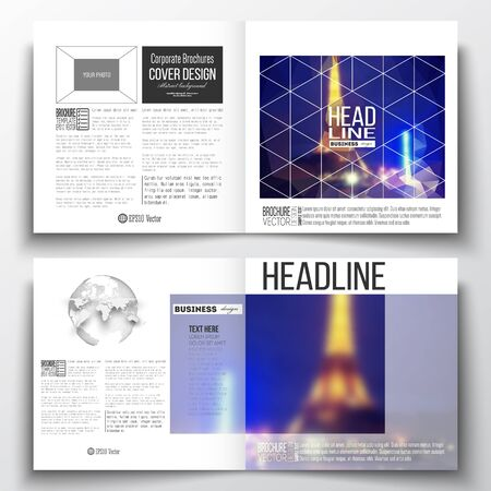 night city: Set of annual report business templates for brochure, magazine, flyer or booklet. Dark polygonal background, blurred image, night city landscape, Paris cityscape, modern triangular vector texture.