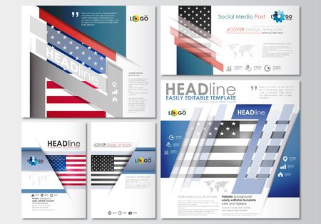 american media: Social media posts set. Business templates. Cover design template, easy editable, abstract flat layouts in popular formats. Patriot Day background with american flag, vector illustration. Illustration
