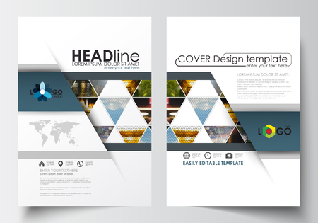 Business templates for brochure, magazine, flyer, booklet or annual report. Cover design template, easy editable blank, abstract flat layout in A4 size. Abstract multicolored background of nature landscapes, geometric triangular style, vector illustration Ilustração