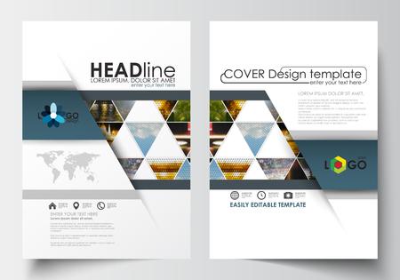 Zakelijke sjablonen voor brochure, tijdschrift, flyer, boekje of jaarverslag. Cover ontwerpsjabloon, gemakkelijk bewerkbare blanco, abstracte vlakke lay-out in A4-formaat. Abstracte veelkleurige achtergrond van aardlandschappen, geometrische driehoekige stijl, vectorillustratie