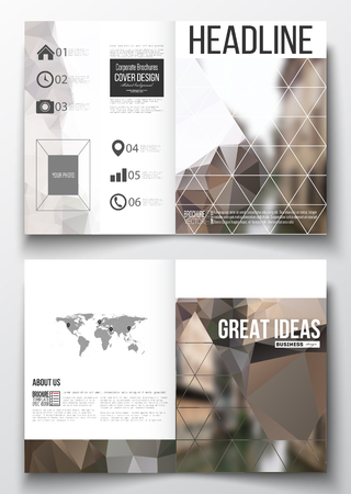 architecture design: Set of business templates for brochure, magazine, flyer, booklet or annual report. Polygonal background, blurred image, urban landscape, modern stylish triangular vector texture.