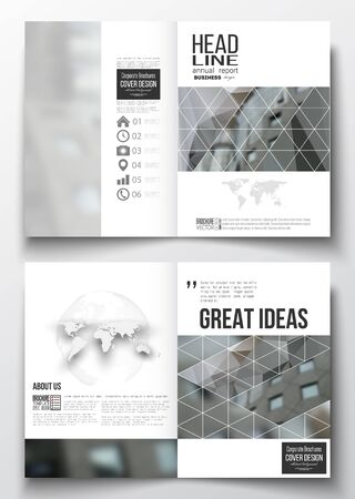 flier: Set of business templates for brochure, magazine, flyer, booklet or annual report. Polygonal background, blurred image, urban landscape, modern stylish triangular vector texture.