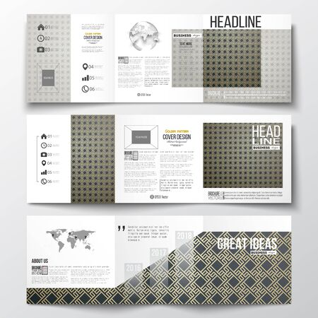 golden globe: Set of tri-fold brochures, square design templates with element of world map and globe. Islamic gold pattern with overlapping geometric square shapes forming abstract ornament. Vector golden texture.