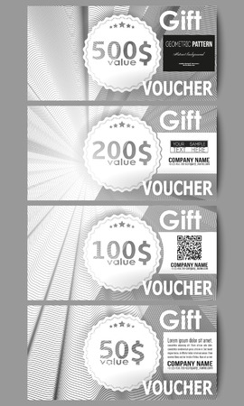 Set Of Modern Gift Voucher Templates. Abstract Lines Background ...