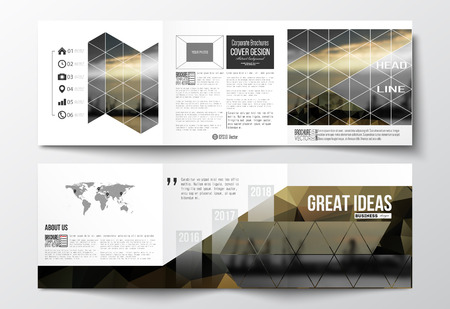 Vector set of tri-fold brochures, square design templates with element of world map. Abstract colorful polygonal background with blurred image, seaport landscape, modern stylish triangular and hexagonal vector texture. Illustration