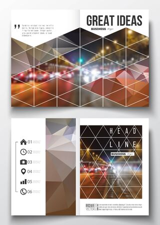 night city: Set of business templates for brochure, magazine, flyer, booklet or annual report. Dark polygonal background, blurred image, night city landscape, car traffic, modern triangular texture.