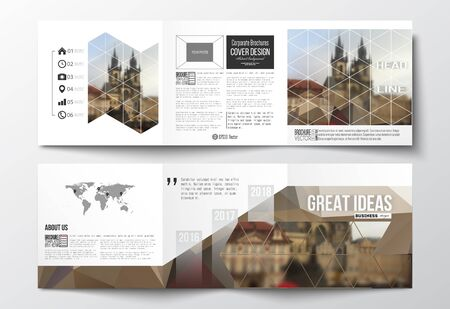 Vector set of tri-fold brochures, square design templates with element of world map. Polygonal background, blurred image, urban landscape, cityscape of Prague, modern triangular texture