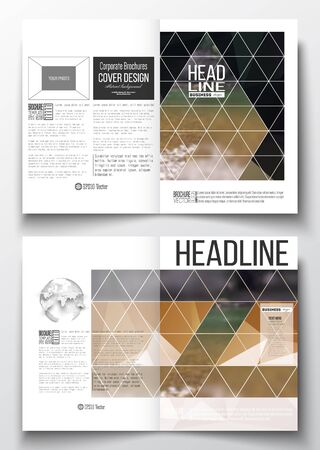 half globe: Set of business templates for brochure, magazine, flyer, booklet or annual report. Colorful polygonal backdrop, blurred natural background, modern stylish triangle vector texture. Illustration