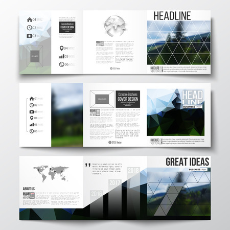 Vector set of tri fold brochures square design templates with vector set of tri fold brochures square design templates with element of world map gumiabroncs Gallery