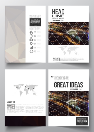 night city: Set of business templates for brochure, magazine, flyer, booklet or annual report. Dark polygonal background, blurred image, night city landscape, Paris cityscape, modern triangular vector texture.