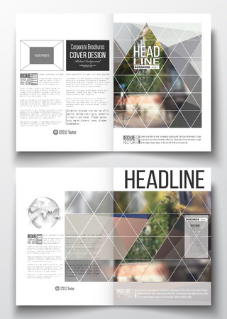 montmartre: Set of business templates for brochure, magazine, flyer, booklet or annual report. Polygonal background, blurred image, urban landscape, street in Montmartre, Paris cityscape, modern vector texture. Illustration