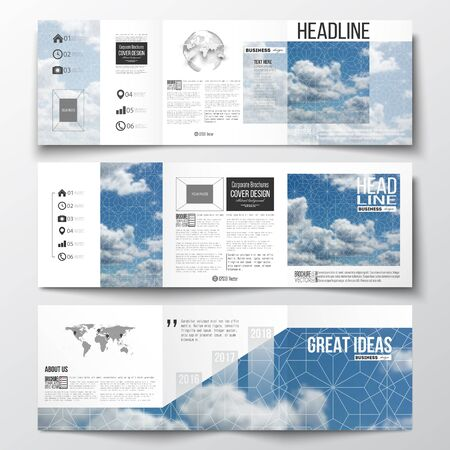 page layout: Set of tri-fold brochures, square design templates with element of world map and globe. Beautiful blue sky, abstract geometric background with white clouds, leaflet cover, business layout, vector.