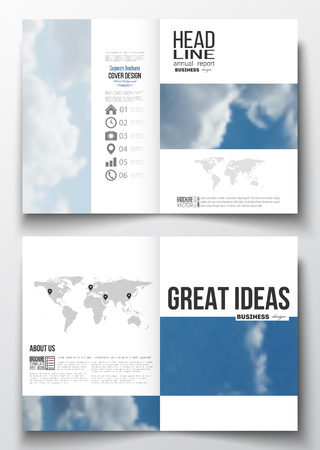 weather report: Set of business templates for brochure, magazine, flyer, booklet or annual report. Beautiful blue sky, abstract background with white clouds, leaflet cover, business layout, vector. Illustration