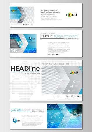 Conjunto de encabezados de redes sociales y correo electrónico, banners modernos. Plantillas de negocios. Plantilla de diseño de portada, diseño plano fácil de editar, abstracto en tamaños populares. Triángulos abstractos, fondo triangular azul y gris, moderno vector poligonal.