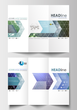 Tri-fold brochure business templates on both sides. Easy editable abstract layout in flat design. DNA molecule structure, science background. Scientific research, medical technology