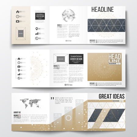 golden globe: Vector set of tri-fold brochures, square design templates with element of world map and globe. Polygonal backdrop, connecting dots and lines, golden background, connection structure. Science vector