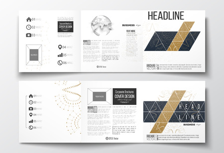 golden globe: Vector set of tri-fold brochures, square design templates with element of world globe. Polygonal golden background with connecting dots and lines, connection structure. Digital or science vector