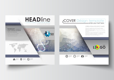 scientific research: Business templates for square design brochure, magazine, flyer, booklet or annual report. Leaflet cover, abstract flat layout, easy editable blank. DNA molecule structure on blue background. Scientific research, medical technology. Illustration