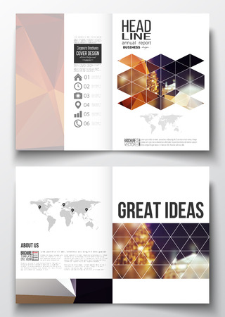 night city: Set of business templates for brochure, magazine, flyer, booklet or annual report. Colorful polygonal background, blurred image, night city landscape, festive cityscape, triangular vector texture.