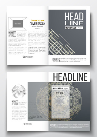 half globe: Set of business templates for brochure, magazine, flyer, booklet or annual report. Round golden technology pattern on dark background, mandala template, connecting lines and dots, connection structure. Illustration