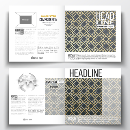 half globe: Set of annual report business templates for brochure, magazine, flyer or booklet. Islamic gold pattern with overlapping geometric square shapes forming abstract ornament. Vector golden texture