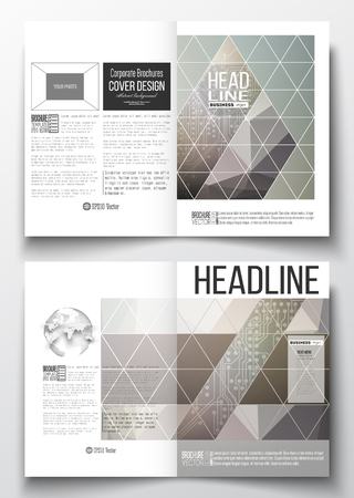 circuitos electricos: Set of business templates for brochure, magazine, flyer, booklet or annual report. Microchip background, electrical circuits, science design vector template.