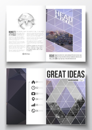 half globe: Set of business templates for brochure, magazine, flyer, booklet or annual report. Polygonal background, blurred image, urban landscape, modern stylish triangular vector texture.