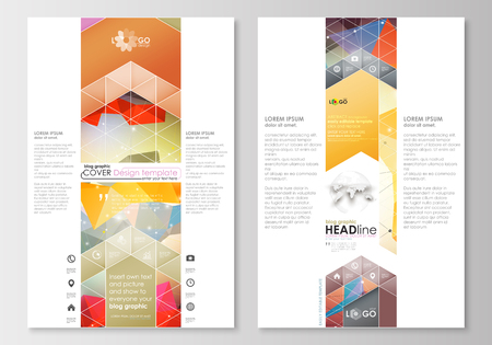 page layout: Blog graphic business templates. Page website design template, easy editable, abstract flat layout. Abstract colorful triangle design vector background with polygonal molecules.
