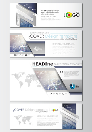 scientific research: Social media and email headers set, modern banners. Business templates. Cover design template, easy editable, abstract flat layout in popular sizes. DNA molecule structure on blue background. Scientific research, medical technology.