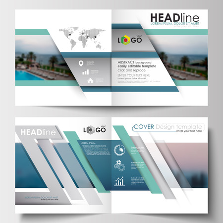 booklet design: Business templates for square design brochure, magazine, flyer, booklet or annual report. Leaflet cover, abstract flat style travel decoration layout, easy editable vector template, colorful blurred natural landscape