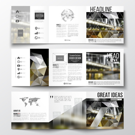 night city: Vector set of tri-fold brochures, square design templates with element of world map and globe. Colorful polygonal background, blurred image, night city landscape, modern triangular vector texture.