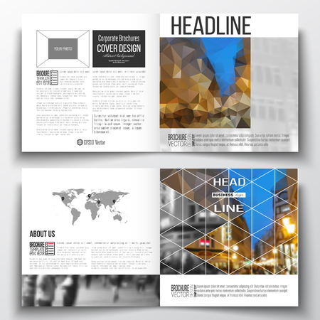night city: Set of annual report business templates for brochure, magazine, flyer or booklet. Colorful polygonal background, blurred image, night city landscape, modern stylish triangular vector texture. Illustration